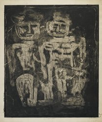 Louise Nevelson (American, born Russia, 1900-1988). Night Figures, 1952-1954. Etching on paper, sheet: 25 15/16 x 24 1/8 in. (65.9 x 61.3 cm). Brooklyn Museum, Gift of Louise Nevelson, 65.22.20. © artist or artist's estate