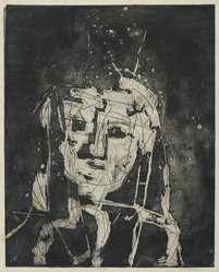 Louise Nevelson (American, born Russia, 1900-1988). Portrait, 1952-1954. Etching on paper, sheet: 24 5/8 x 18 3/4 in. (62.5 x 47.6 cm). Brooklyn Museum, Gift of Louise Nevelson, 65.22.21. © artist or artist's estate