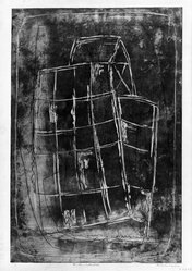 Louise Nevelson (American, born Russia, 1900-1988). Sunken Cathedral, 1952-1954. Etching and drypoint on paper, sheet: 22 1/4 x 17 3/8 in. (56.5 x 44.1 cm). Brooklyn Museum, Gift of Louise Nevelson, 65.22.23. © artist or artist's estate