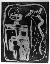 Louise Nevelson (American, born Russia, 1900-1988). Ancient Figure, 1952-1954. Etching on paper, sheet: 27 9/16 x 21 7/16 in. (70 x 54.5 cm). Brooklyn Museum, Gift of Louise Nevelson, 65.22.3. © artist or artist's estate