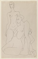 Louise Nevelson (American, born Russia, 1900-1988). Three Female Figures, n.d. Ink on paper, sheet: 17 3/8 x 11 in. (44.1 x 27.9 cm). Brooklyn Museum, Gift of Louise Nevelson, 65.22.44. © artist or artist's estate