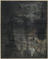 Louise Nevelson (American, born Russia, 1900-1988). Ancient Figure, 1952-1954. Etching on paper, sheet: 19 7/16 x 25 1/8 in. (49.4 x 63.8 cm). Brooklyn Museum, Gift of Louise Nevelson, 65.22.4. © artist or artist's estate
