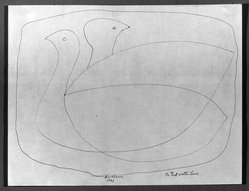 Louise Nevelson (American, born Russia, 1900-1988). Two Birds, 1961. Ink on paper, sheet: 8 1/2 x 11 in. (21.6 x 27.9 cm). Brooklyn Museum, Gift of Louise Nevelson, 65.22.51. © artist or artist's estate