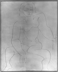 Louise Nevelson (American, born Russia, 1900-1988). Seated Figure, n.d. Graphite on paper, sheet: 16 13/16 x 13 7/8 in. (42.7 x 35.2 cm). Brooklyn Museum, Gift of Louise Nevelson, 65.22.53. © artist or artist's estate