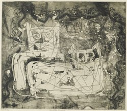 Louise Nevelson (American, born Russia, 1900-1988). Animal Kingdom, 1952-1954. Etching on paper, sheet: 17 1/2 x 17 3/4 in. (44.5 x 45.1 cm). Brooklyn Museum, Gift of Louise Nevelson, 65.22.6. © artist or artist's estate