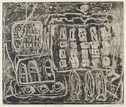 Louise Nevelson (American, born Russia, 1900-1988). Circus Wagon, 1952-1954. Etching on paper, sheet: 22 3/8 x 17 3/8 in. (56.8 x 44.1 cm). Brooklyn Museum, Gift of Louise Nevelson, 65.22.9. © artist or artist's estate