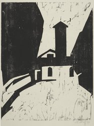 Karl Schmidt-Rottluff (German, 1884-1976). Villa with Tower (Villa mit Turm), 1911. Woodcut on wove paper, Image: 19 11/16 x 15 1/2 in. (50 x 39.4 cm). Brooklyn Museum, A. Augustus Healy Fund, 65.23.7. © artist or artist's estate