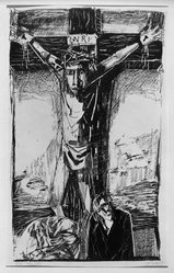 Otto Dix (German, 1891-1969). Crucifixion (Kreuzigung), 1949. Lithograph on heavy wove paper, Image: 22 11/16 x 13 1/2 in. (57.6 x 34.3 cm). Brooklyn Museum, A. Augustus Healy Fund, 65.27.1. © artist or artist's estate