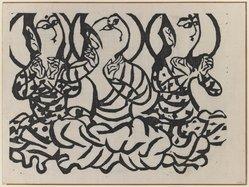Munakata Shiko (Japanese, 1903-1975). Three Buddhas, 1940. Woodblock print, sheet: 11 1/8 x 14 7/8 in. (28.3 x 37.8 cm). Brooklyn Museum, A. Augustus Healy Fund, 65.28.1. © artist or artist's estate