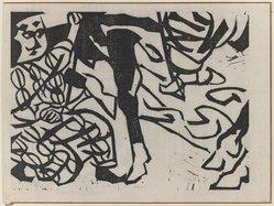Munakata Shiko (Japanese, 1903-1975). Figure and Scroll, 1940. Woodblock print, sheet: 11 1/8 x 14 7/8 in. (28.3 x 37.8 cm). Brooklyn Museum, A. Augustus Healy Fund, 65.28.3. © artist or artist's estate