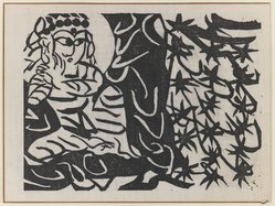 Munakata Shiko (Japanese, 1903-1975). Figure - tree in center, 1940. Woodblock print, sheet: 11 1/8 x 14 7/8 in. (28.3 x 37.8 cm). Brooklyn Museum, A. Augustus Healy Fund, 65.28.4. © artist or artist's estate