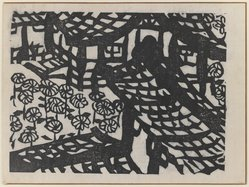 Munakata Shiko (Japanese, 1903-1975). Flowers and Building, 1940. Woodblock print, sheet: 11 1/8 x 14 7/8 in. (28.3 x 37.8 cm). Brooklyn Museum, A. Augustus Healy Fund, 65.28.5. © artist or artist's estate