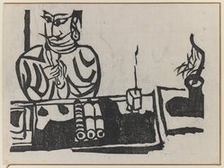 Munakata Shiko (Japanese, 1903-1975). Seated Man and Scrolls, 1940. Woodblock print, sheet: 11 1/8 x 14 7/8 in. (28.3 x 37.8 cm). Brooklyn Museum, A. Augustus Healy Fund, 65.28.7. © artist or artist's estate