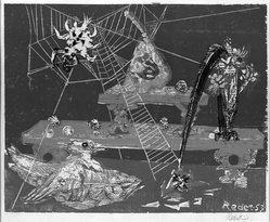 Bernard Reder (American, 1897-1963). Still Life with Spider, 1953. Woodcut on paper, 16 x 20 in. (40.6 x 50.8 cm). Brooklyn Museum, Gift of Mr. and Mrs. Warren Brandt, 66.197.19. © artist or artist's estate