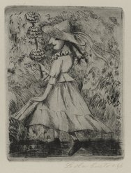 Lola Cueto (Mexican, 1897-1978). Female Dancing Figure in Hat, 1946. Etching and drypoint Brooklyn Museum, Gift of Mr. and Mrs. Gustave Gilbert, 66.199.1. © artist or artist's estate