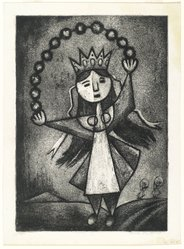 Lola Cueto (Mexican, 1897-1978). Figure with Crown, 1959. Etching (aquatint and soft ground) Brooklyn Museum, Gift of Mr. and Mrs. Gustave Gilbert, 66.199.4. © artist or artist's estate
