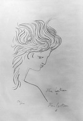 Jean Cocteau (French, 1889-1963). Profile d'Ange, 1960. Lithograph on wove paper, 22 x 14 3/4 in. (55.9 x 37.5 cm). Brooklyn Museum, Gift of Mr. and Mrs. Joe Seldin, 66.39. © artist or artist's estate