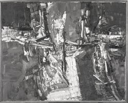 Jean-Paul Riopelle (Canadian, 1923-2002). Nuit des Dieux (thickly painted abstract), 1957. Oil on Canvas, 30 x 37 in. (76.2 x 94 cm). Brooklyn Museum, Gift of Mr. and Mrs. Arthur Wiesenberger, 67.204.1. © artist or artist's estate