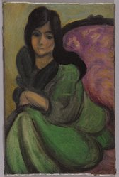Henri Matisse (French, 1869-1954). Woman in an Armchair (Femme au fauteuil), ca. 1916-1917. Oil on canvas, 8 9/16 x 5 5/8 in. (21.7 x 14.3 cm). Brooklyn Museum, Bequest of Laura L. Barnes, 67.24.15. © artist or artist's estate
