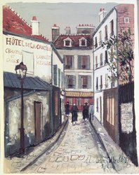 Maurice Utrillo (French, 1883-1955). Street in Belleville (Rue à Belleville), 1922. Transparent and opaque watercolor on laid paper, 9 3/8 x 7 3/8 in. (23.8 x 18.7 cm). Brooklyn Museum, Bequest of Laura L. Barnes, 67.24.20. © artist or artist's estate