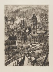 Samuel Chamberlain (American, 1895-1975). Church and Market Place, 1930. Drypoint, 9 x 6 1/2 in. (22.9 x 16.5 cm). Brooklyn Museum, Gift of Mrs. Harold J. Baily, 67.27.5. © artist or artist's estate
