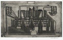 Robert Broner (American, born 1922). Power Plant, 1967. Intaglio on paper, 10 1/2 x 17 3/4 in. (26.7 x 45.1 cm). Brooklyn Museum, Dick S. Ramsay Fund, 67.37. © artist or artist's estate