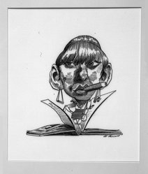 David Levine (American, 1926-2009). Gore Vidal as His Heroine Myra Breckenridge, 1968. Ink on board, 13 3/4 x 11 in. (34.9 x 27.9 cm). Brooklyn Museum, Gift of the artist, 68.100.4. © artist or artist's estate