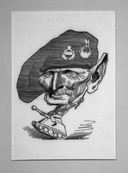 David Levine (American, 1926-2009). General George Montgomery, 1968. Ink on board, 11 1/2 x 7 1/4 in. (29.2 x 18.4 cm). Brooklyn Museum, Gift of the artist, 68.224.6. © artist or artist's estate