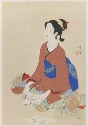 Kiyokata (Japanese). Bijin, 20th century. Woodblock color print, 20 x 13 1/2 in. (50.8 x 34.3 cm). Brooklyn Museum, Carll H. de Silver Fund, 68.35.7