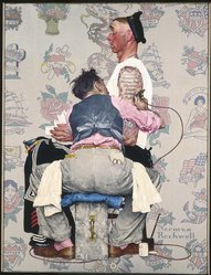 Norman Rockwell (American, 1894-1978). The Tattoo Artist, 1944. Oil on canvas, 43 1/8 x 33 1/8 in. (109.5 x 84.1 cm). Brooklyn Museum, Gift of the artist, 69.8. © 1944 SEPS:  Licensed by Curtis Publishing, Indianapolis, IN. www.curtispublishing.com   All rights reserved.  www.curtispublishing.com Ó 1944 SEPS:  Licensed by Curtis Publishing, Indianapolis, IN  All rights reserved.  www.curtispublishing.com