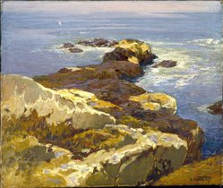 Edward Henry Potthast (American, 1857-1927). Rocks and Sea, ca. 1923. Oil on canvas, 20 1/16 x 24 in. (51 x 61 cm). Brooklyn Museum, A. Augustus Healy Fund, 70.101.1. © artist or artist's estate