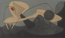 Tom Lias (American, born 1903). Two Forms in Space, 1946. Lithograph and intaglio on light board, Mat: 15 15/16 x 22 1/16 in. (40.5 x 56 cm). Brooklyn Museum, Gift of The Museum of Modern Art, 70.113.1. © artist or artist's estate