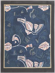 Marguerite Thompson Zorach (American, 1887-1968). (Semi-abstract Floral Designs - White on Navy Blue Background), n.d. Watercolor on paper mounted to tan paper and then mounted to black paper, Sheet (watercolor): 12 1/8 x 8 15/16 in. (30.8 x 22.7 cm). Brooklyn Museum, Gift of Mr. and Mrs. Tessim Zorach, 70.35.10. © artist or artist's estate