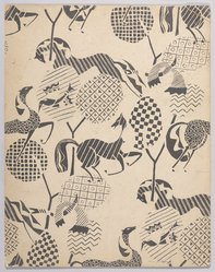 Marguerite Thompson Zorach (American, 1887-1968). (Pattern of Horses, Birds and Geometric Designs - in Black and White), n.d. India ink over graphite on paperboard, Sheet: 14 1/16 x 11 1/16 in. (35.7 x 28.1 cm). Brooklyn Museum, Gift of Mr. and Mrs. Tessim Zorach, 70.35.7. © artist or artist's estate