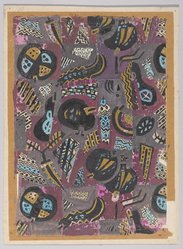 Marguerite Thompson Zorach (American, 1887-1968). (Abstract Design - Gold, Blue, Black on Mauve Background), 20th century. Watercolor on paper mounted to tan paper and then mounted to paperboard, Sheet (watercolor): 11 7/16 x 8 in. (29.1 x 20.3 cm). Brooklyn Museum, Gift of Mr. and Mrs. Tessim Zorach, 70.35.9. © artist or artist's estate