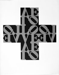 Robert Indiana (American, born 1928). Love Cross, 1968. Silk screen, 28 1/2 x 22 1/2 in. (72.4 x 57.2 cm). Brooklyn Museum, Carll H. de Silver Fund, 70.37.3. © artist or artist's estate