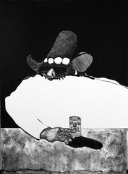Fritz Scholder (American and Luiseño, Native American, 1937-2005). Indian at the Bar, 1970-1971. Lithograph on paper, 30 1/8 x 22 3/8 in. (76.5 x 56.8 cm). Brooklyn Museum, Bristol-Myers Fund, 71.134.1. © artist or artist's estate