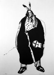 Fritz Scholder (American and Luiseño, Native American, 1937-2005). Waiting Indian, 1970-1971. Lithograph on paper, 30 x 22 in. (76.2 x 55.9 cm). Brooklyn Museum, Bristol-Myers Fund, 71.134.6. © artist or artist's estate