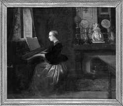 Attributed to Florent Willems (Belgian, 1823-1925). Woman at a Piano, n.d. Oil on canvas, 18 5/16 x 21 15/16 in. (46.5 x 55.7 cm). Brooklyn Museum, Gift of Louis Thomas, 71.138.2. © artist or artist's estate