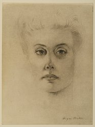 Roger Baker (American, born 1925). Portrait of Mrs. Helene Muensterberger, 1966. Ink and charcoal on paper, sheet: 12 x 9 in. (30.5 x 22.9 cm). Brooklyn Museum, Gift of Dr. and Mrs. Werner Muensterberger, 71.186.1. © artist or artist's estate