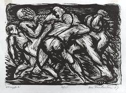 Isaac Friedlander (American, 1890-1968). Struggle 2, 1967. Woodcut, Sheet: 13 1/2 x 17 5/8 in. (34.3 x 44.8 cm). Brooklyn Museum, Gift of the Society of American Graphic Artists in memory of John von Wicht, 71.60.22. © artist or artist's estate