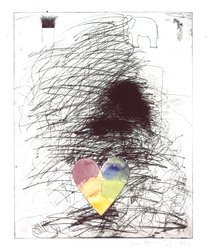Jim Dine (American, born 1935). A Girl and Her Dog, No. II, 1971. Etching with hand coloring in watercolor, Image: 27 x 21 1/4 in. (68.6 x 54 cm). Brooklyn Museum, National Endowment for the Arts and Bristol-Myers Fund, 72.115.1. © artist or artist's estate