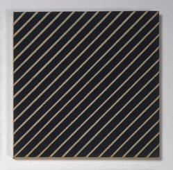 Frank Stella (American, born 1936). Sabine Pass, 1962. Alkyd on raw canvas (Benjamin Moore flat wall paint), 12 x 12 in. (30.5 x 30.5 cm). Brooklyn Museum, Gift of Andy Warhol, 72.167.2. © artist or artist's estate