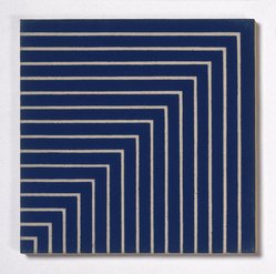 Frank Stella (American, born 1936). Hampton Roads, 1962. Alkyd on raw canvas (Benjamin Moore flat wall paint), 12 1/16 x 12 1/16 in. (30.6 x 30.6 cm). Brooklyn Museum, Gift of Andy Warhol, 72.167.3. © artist or artist's estate