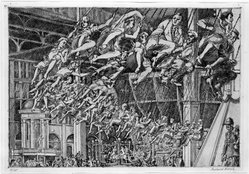 Reginald Marsh (American, 1898-1954). Steeplechase Swings, n.d. Etching on paper, Sheet: 10 9/16 x 14 9/16 in. (26.8 x 37 cm). Brooklyn Museum, Designated Purchase Fund and Bristol-Myers Fund, 72.6. © artist or artist's estate