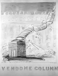 Robert Fried (American, 1937-1974). Vendome Column, 1971. Colored pencil and watercolor on paper, sheet: 28 1/8 x 21 3/4 in. (71.4 x 55.2 cm). Brooklyn Museum, Designated Purchase Fund, 73.113. © artist or artist's estate