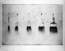 Jim Dine (American, born 1935). Five Paintbrushes, 1973. Etching, Image: 23 1/2 x 35 5/8 in. (59.7 x 90.5 cm). Brooklyn Museum, Designated Purchase Fund, 73.115. © artist or artist's estate