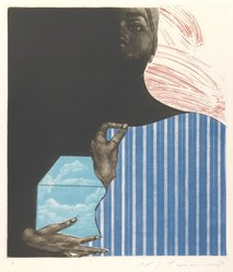 Ikeda Masuo (Japanese, 1934-1997). Sphinx with September, 1970. Etching, mezzotint and drypoint, Sheet: 19 3/8 x 14 3/8 in. (49.2 x 36.5 cm). Brooklyn Museum, Gift of the Helen and Felix Juda Foundation, by exchange, 73.122.2. © artist or artist's estate