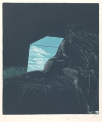 Ikeda Masuo (Japanese, 1934-1997). Sphinx Covered by Sheet, 1970. Etching, mezzotint and drypoint, Sheet: 19 3/8 x 14 3/8 in. (49.2 x 36.5 cm). Brooklyn Museum, Gift of the Helen and Felix Juda Foundation, by exchange, 73.122.5. © artist or artist's estate