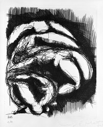 Luigi E. Mattei (Italian, born 1945). Corpi (No. 245), 1973. Etching on paper, sheet: 19 1/2 x 13 3/4 in. (49.5 x 34.9 cm). Brooklyn Museum, Gift of the artist, 73.159.3. © artist or artist's estate